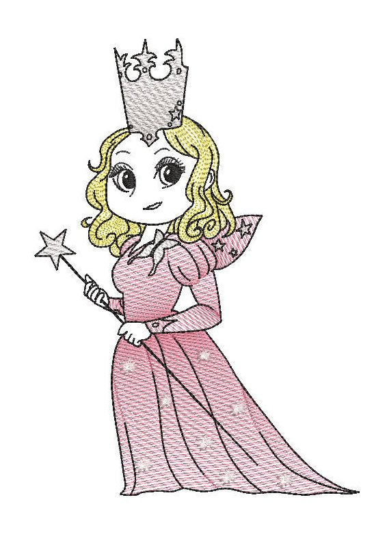 wizard of oz Glinda the good witch reading cushion book pocket pillow embroidery machine design file sketch and text 3 sizes included