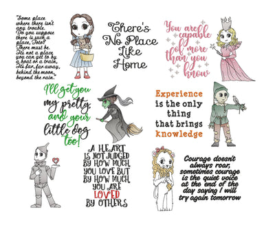 entire collection bundle of 6 designs pack The Wizard Of Oz cushion book pocket pillow embroidery machine design files
