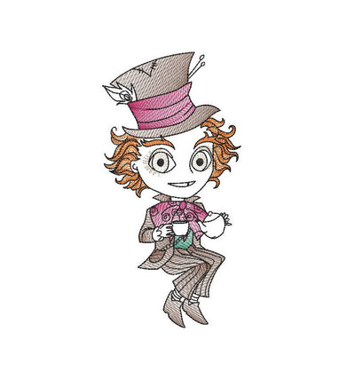 Mad hatter Alice in wonderland sketch embroidery machine design file digital download three sizes included in all formats