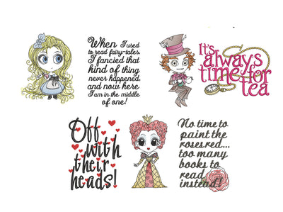 Triple design pack Alice In Wonderlandqueen of hearts mad hatter reading cushion book pocket pillow embroidery machine design file two sizes
