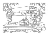 vintage sewing machine embroidery machine design file digital download 4 sizes included redwork linework 2