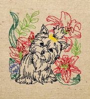 Yorkie dog embroidery machine design file digital download 4 sizes included redwork color work linework