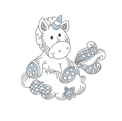 Baby patchwork unicorn sketch embroidery machine design file 3 sizes line work color work 6