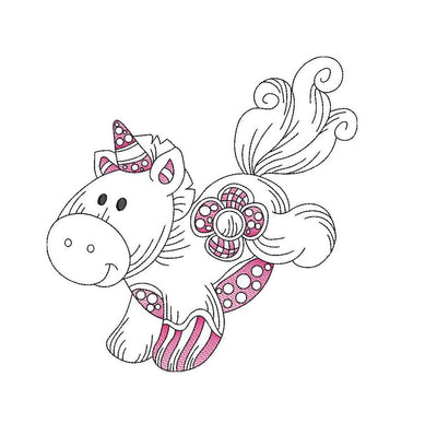 Baby patchwork unicorn sketch embroidery machine design file 3 sizes line work color work 7