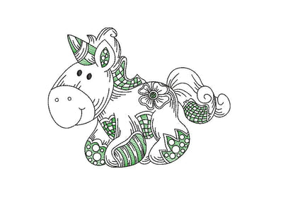 Baby patchwork unicorn sketch embroidery machine design file 3 sizes line work color work 5
