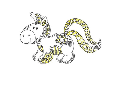 Baby pony horse unicorn sketch embroidery machine design file 3 sizes line work color work 8