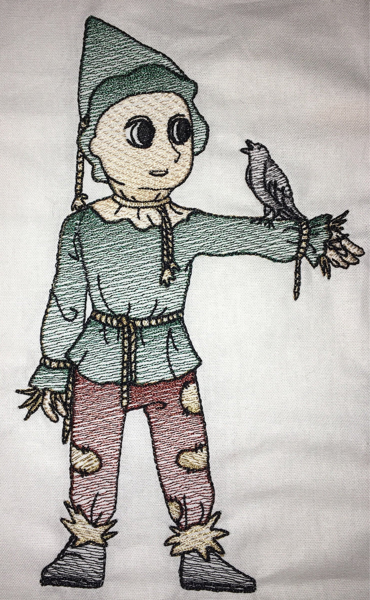 wizard of oz Scarecrow reading cushion book pocket pillow embroidery machine design file sketch and text 3 sizes included