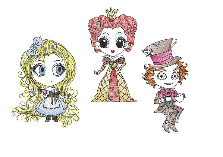 Triple design pack Alice In Wonderland queen of hearts mad hatter reading book pocket pillow embroidery machine design file 3 sizes
