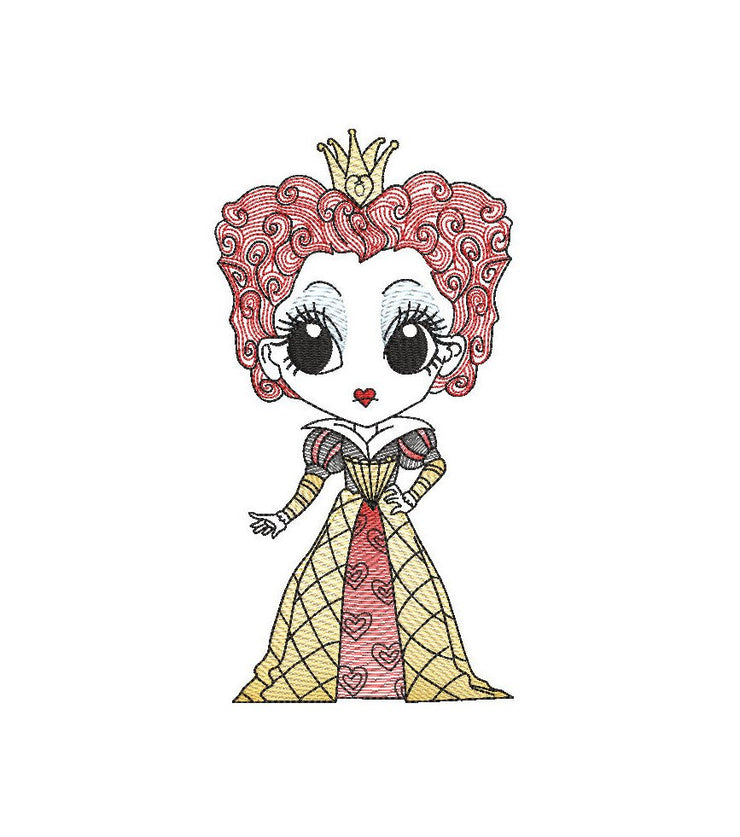 Queen of hearts Alice in wonderland sketch embroidery machine design file digital download three sizes included in all formats