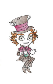 Double design pack Alice In Wonderland mad hatter reading cushion book pocket pillow embroidery machine design file two sizes