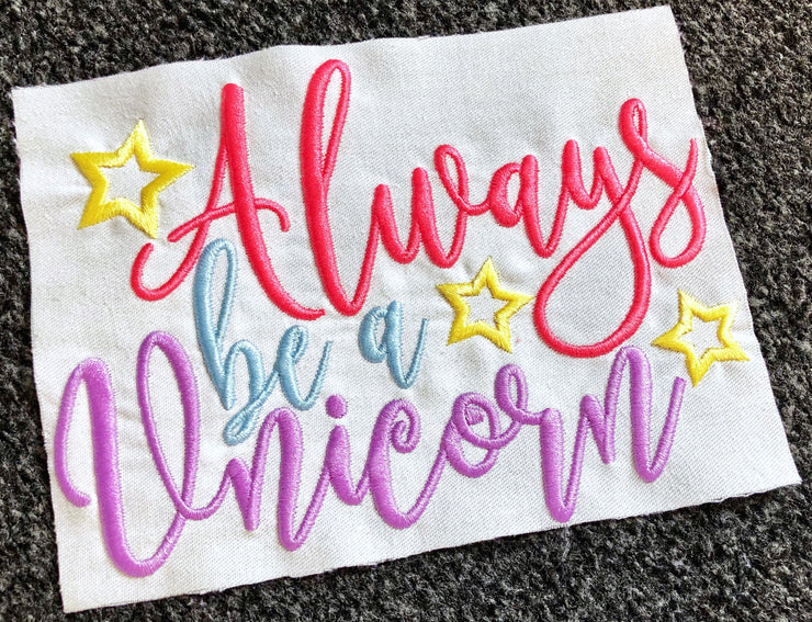 always be a unicorn quote reading cushion book pocket pillow embroidery machine design