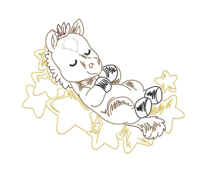 cute animal Series 1-5 full bundle sketch line drawing embroidery machine design file cow sheep horse duck pig 3 sizes included