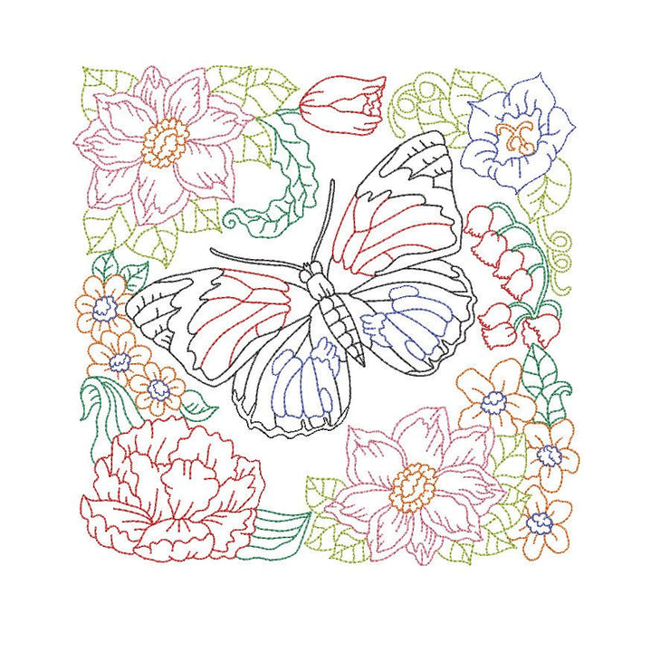 butterfly floral embroidery machine design file digital download 4 sizes included redwork color work linework