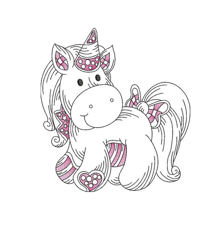 Baby patchwork unicorn sketch embroidery machine design file 3 sizes line work color work 4