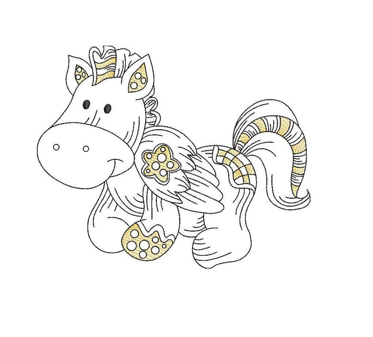 Baby patchwork pegasus sketch embroidery machine design file 3 sizes line work color work unicorn 3