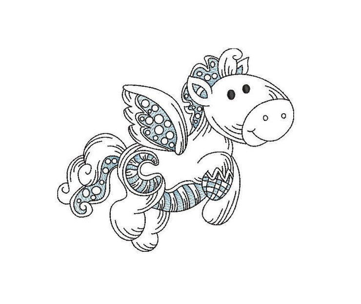 Baby patchwork pegasus sketch embroidery machine design file 3 sizes line work color work unicorn  1