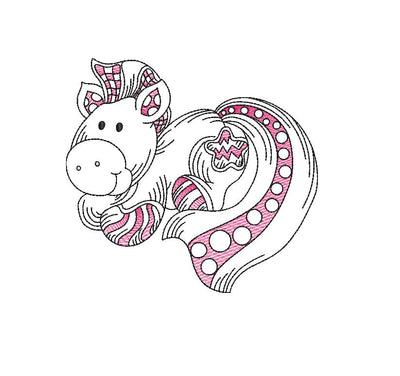 Baby pony sketch embroidery machine design file 3 sizes line work color work horse 10