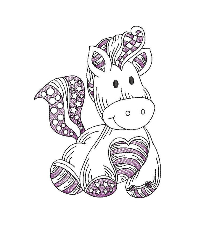 Baby pony sketch embroidery machine design file 3 sizes line work color work horse 9