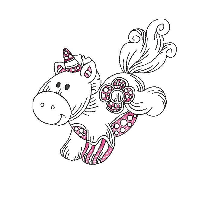 10 design pack patchwork Baby unicorn pegasus pony sketches 3 sizes