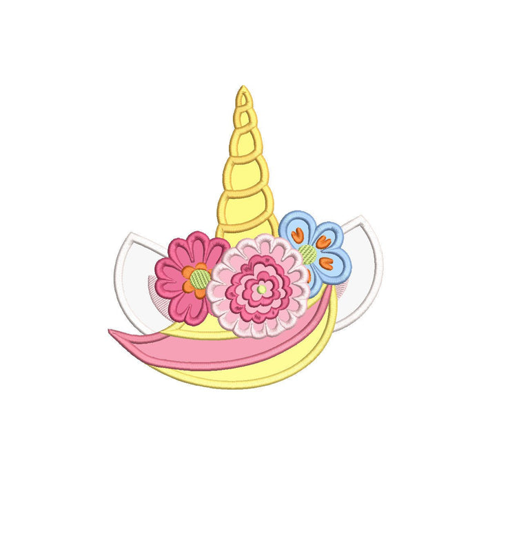 unicorn horn face head applique embroidery machine design file 2 sizes