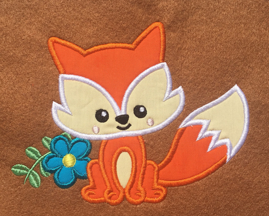 Cute fox applique design embroidery machine design file sizes