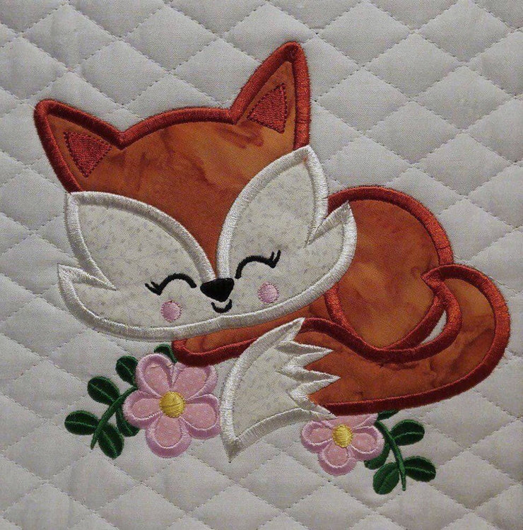 Cute Sleepy Fox applique design embroidery machine design file 3 sizes included all machine formats instant download