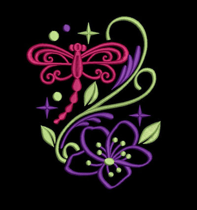 dragonfly sparkle machine embroidery design 3 sizes 1