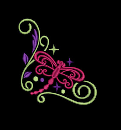 dragonfly sparkle machine embroidery design 3 sizes 2