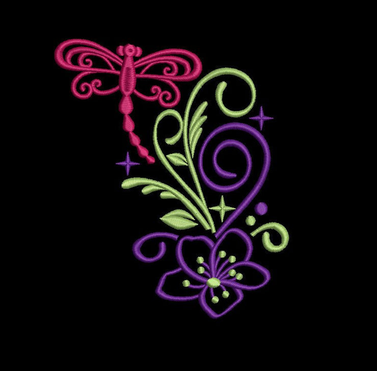 dragonfly sparkle machine embroidery design 3 sizes 6