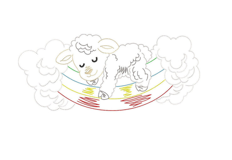 cute animal sheep lamb sketch line drawing embroidery machine design file newborn blanket onesie vest bib etc 3 sizes