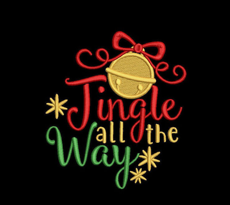 jingle all the way christmas embroidery machine design files 3 sizes included 2 versions applique and filled