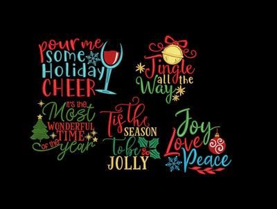 Christmas quotes bundle 5 designs sayings embroidery machine design files 3 sizes included