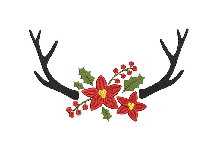 poinsettia floral reindeer antlers christmas embroidery machine design files 3 sizes included
