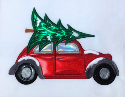 Christmas tree bug car applique embroidery machine design files 3 sizes included xmas