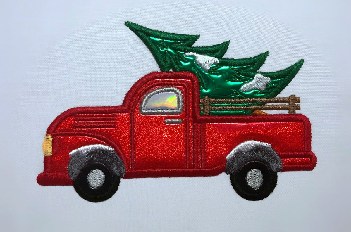 Christmast Tree Truck Car Applique Embroidery Machine