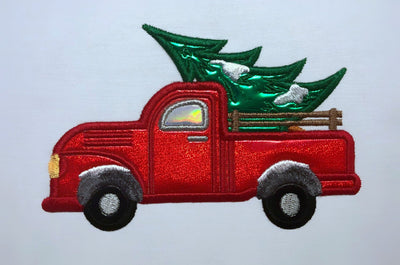 Christmas tree truck car applique embroidery machine design files 4 sizes included xmas