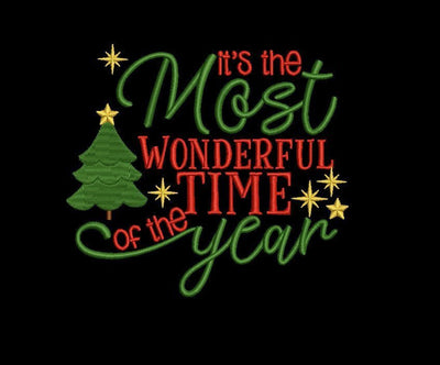 Most wonderful time of the year christmas embroidery machine design files 3 sizes included