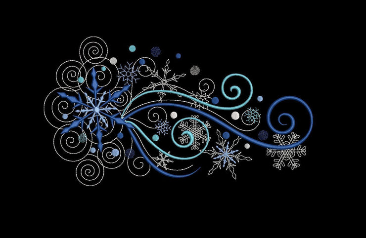 swirly snowflakes machine embroidery design 4 sizes winter christmas
