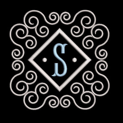 Fishtail monogram & frame letter S