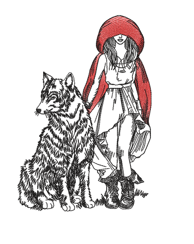 urban red riding hood and the wolf sketch embroidery machine design file digital download 3 sizes included in all formats