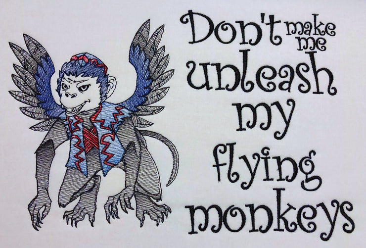 wizard of oz flying monkey reading cushion book pocket pillow embroidery machine design sketch and text 3 sizes included