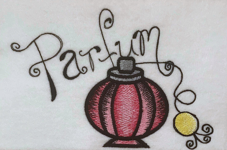 kitsch french parfum perfume bottle vintage embroidery machine design file 2 sizes included