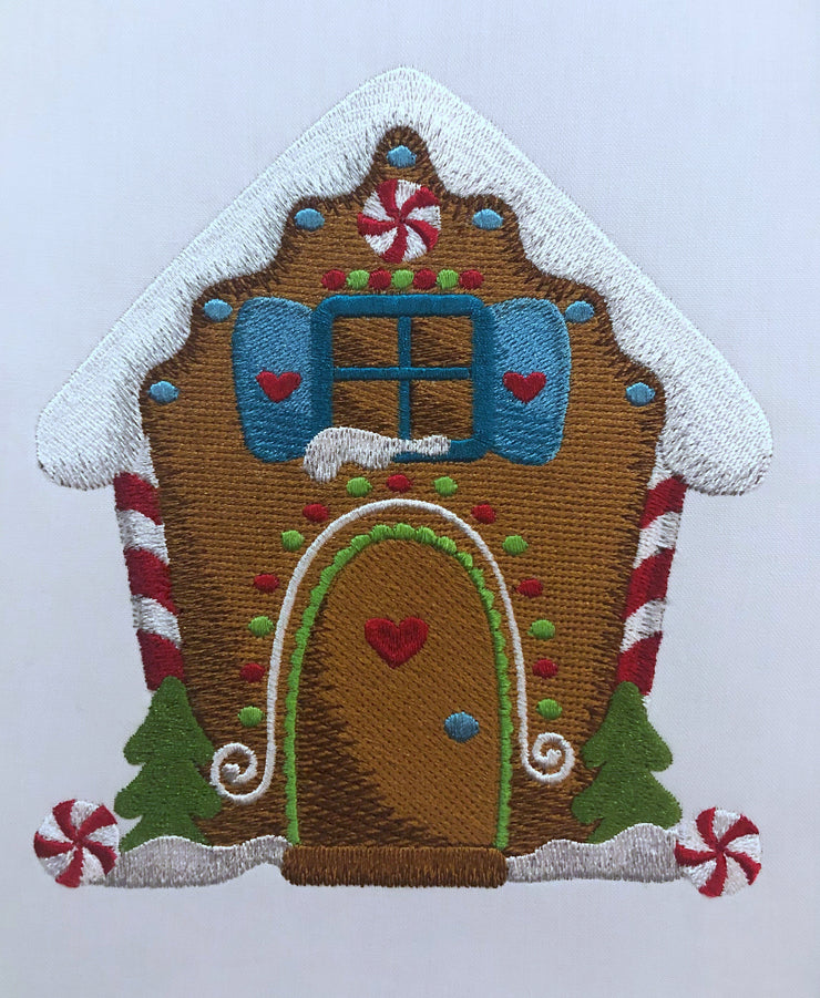 gingerbread house full stitch Christmas machine embroidery design 3 sizes