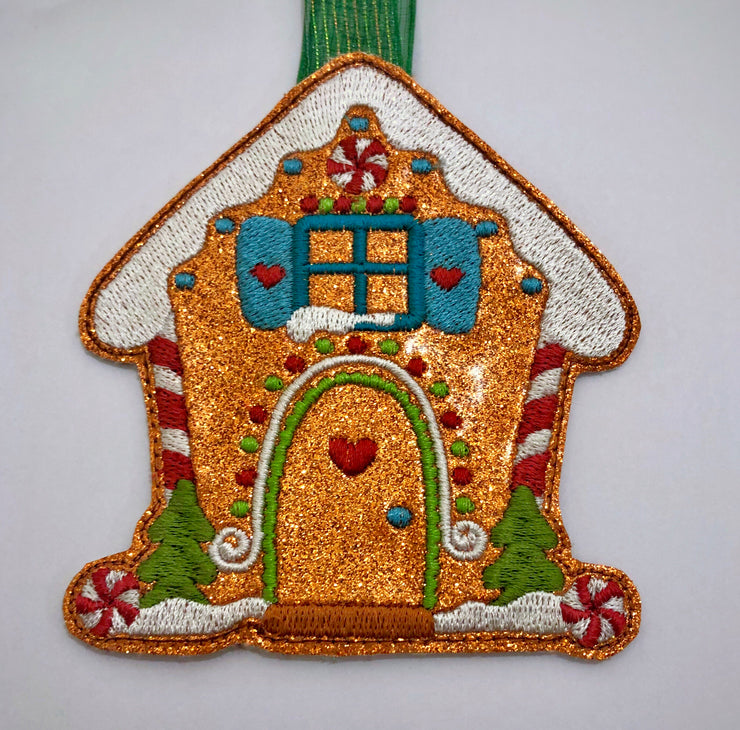 ITH in the hoop gingerbread house felt Christmas tree decoration 2 sizes