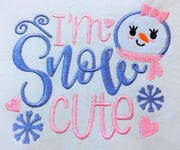 I'm snow cute snowman girl christmas applique embroidery machine design files 3 sizes included xmas baby onesie vest t shirt bib towel etc