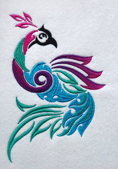Tribal Peacock embroidery machine design