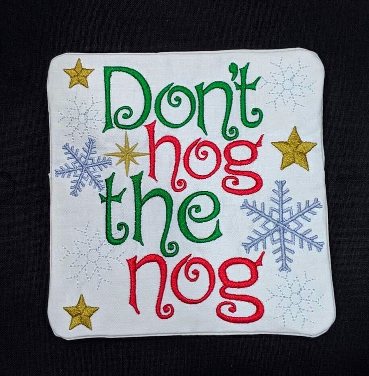 ith in the hoop Christmas mugrug coasters set of two Eggnog mason jar embroidery machine design file applique 4 sizes included