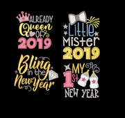 4 part set 2019 baby new years embroidery machine design files applique 2 sizes included xmas baby onesie vest t shirt bib towel etc