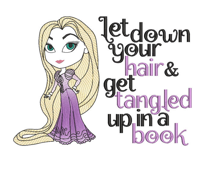 Rapunzel Princess reading pillow embroidery design 3 sizes