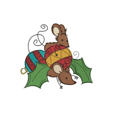 Sketchy christmas mice baubles 2 winter christmas embroidery machine design file 3 sizes included